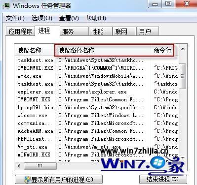 Win7任務管理器如何調出(顯示)映像路徑